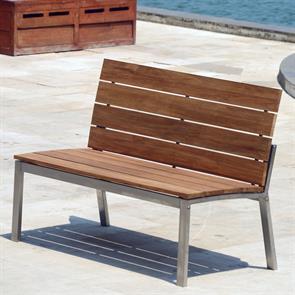 Zilart Gartenbank mit Rückenlehne ohne AL 132 Vintage Teak mit Edelstahlgestell 132x63,5x91,4 cm