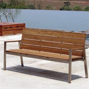 Zilart Gartenbank mit Rücken-+Armlehne 190 Vintage Teak mit Edelstahlgestell 190x63,5x91,4 cm