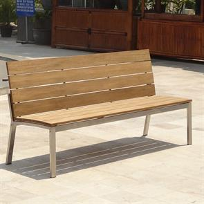 Zilart Gartenbank mit Rückenlehne ohne AL 182 Vintage Teak mit Edelstahlgestell 182x63,5x91,4 cm