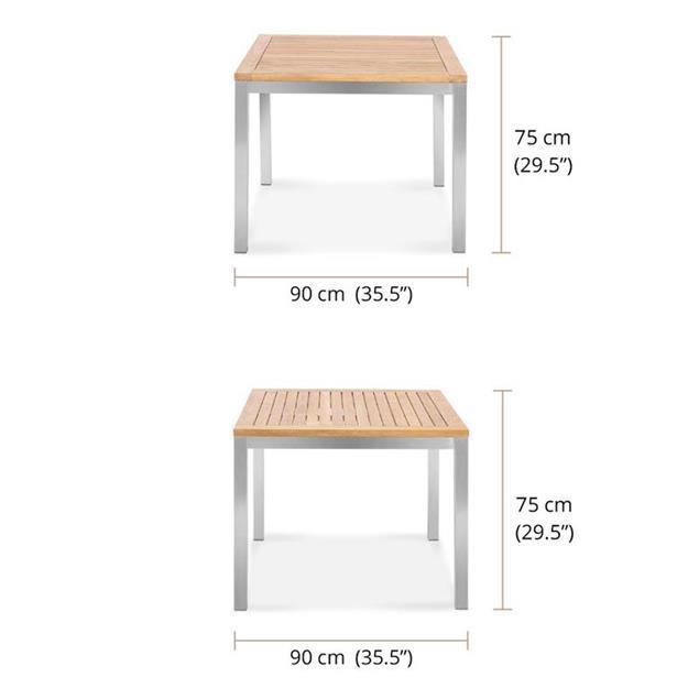 Florence Esstisch 90 x 90 x 76cm - Zertifiziertes Teak GRADE A + Edelstahlgestell