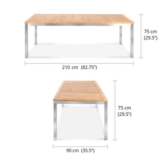 Florence Esstisch 210 x 90 x 76cm - Zertifiziertes Teak GRADE A + Edelstahlgestell