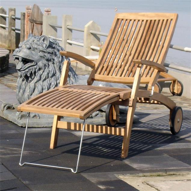 Comforteck Deckchair 171 x 65 x 116,5 cm - Zertifiziertes Teak GRADE A + Edelstahlbeschläge