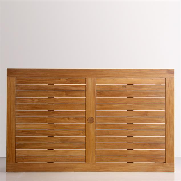 Briston Esstisch 165 x 100 x 76cm zertfizertes Teak Grade A mit 6x6 cm Tischbeinen