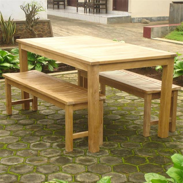 Elegance Gartenbank ohne Rückenlehne 200 cm - Zertifiziertes Teakholz GRADE A
