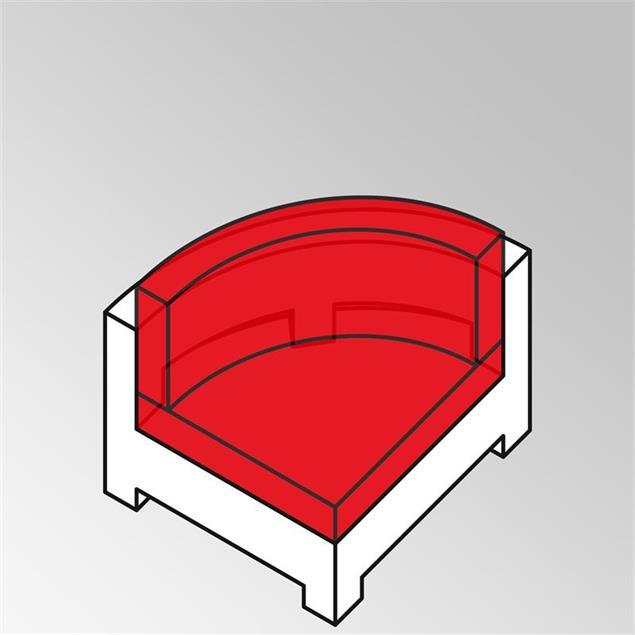 FLEXI Polsterset 2tlg Viertelkreis  Nagata 13 cm dick Nagata für Rundsofa mit Rückenkissen