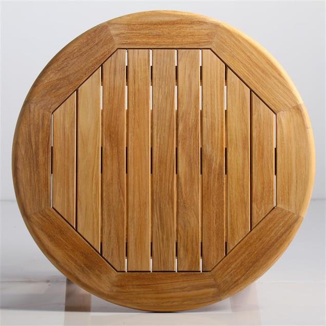 Briston Beistelltisch rund 54cm  mit Ablage Teak mit 6x6 cm Tischbeinen