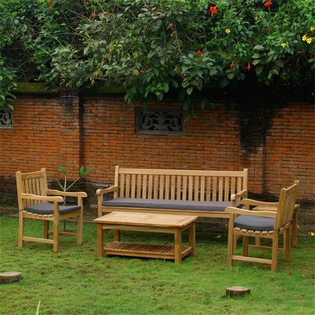 Royal Classic Gartenbank 130 cm - Zertifiziertes Teakholz GRADE A