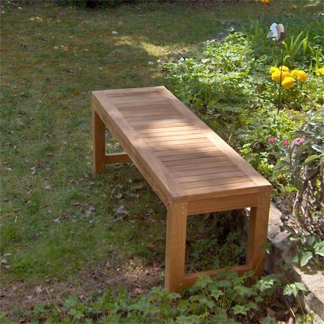 Hampton Gartenbank ohne Rückenlehne 140 cm - Zertifiziertes Teakholz GRADE A