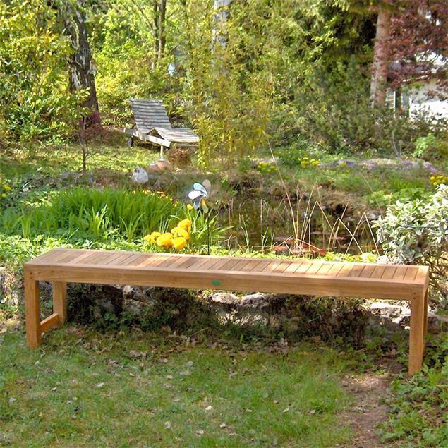 Hampton Gartenbank ohne Rückenlehne 180 cm - Zertifiziertes Teakholz GRADE A