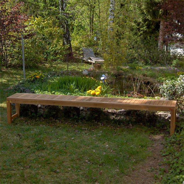 Hampton Gartenbank ohne Rückenlehne 240 cm Teak