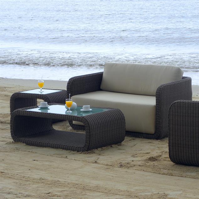 Kubu Lounge Tisch mit Glas Kubu 6mm