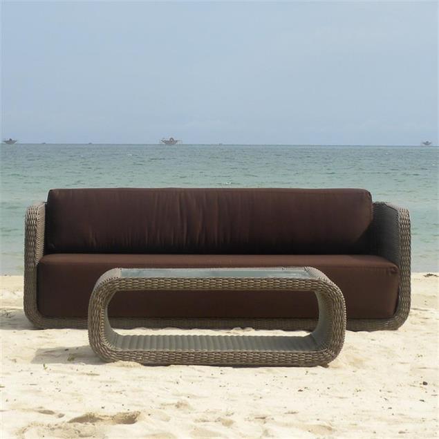 Kubu Lounge Sofa 3-Sitzer Kubu Geflecht 6mm