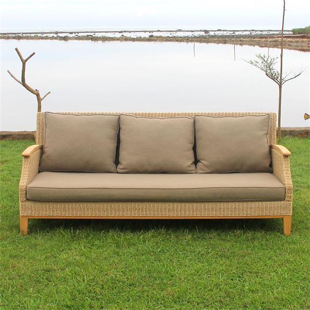 Stokeham Sofa 3 Sitzer  200,5 x 91 x 86 cm Geflecht mit Teakholzbeinen