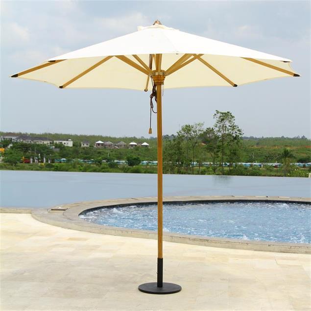 Sonnenschirm Ocean Deluxe 250cm rund Nagata Teak mit Edelstahlbeschlägen und 3fach-Flaschenzug