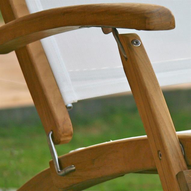 Rivera Deckchair Teak mit Batyline und Edelstahlbeschlägen