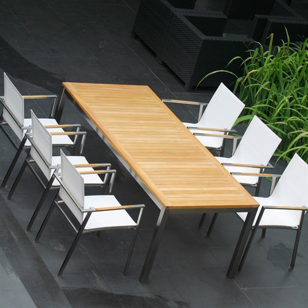 Florence Esstisch 210 x 90 x 75cm Teak mit Edelstahlgestell