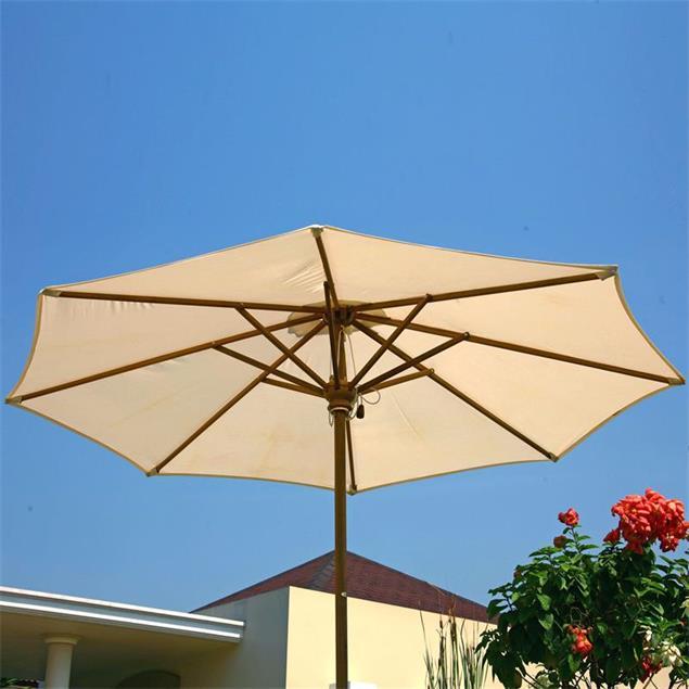 Sonnenschirm rund 300 cm Durchmesser Nagata Standardfarbe Teak mit Messingbeschlägen