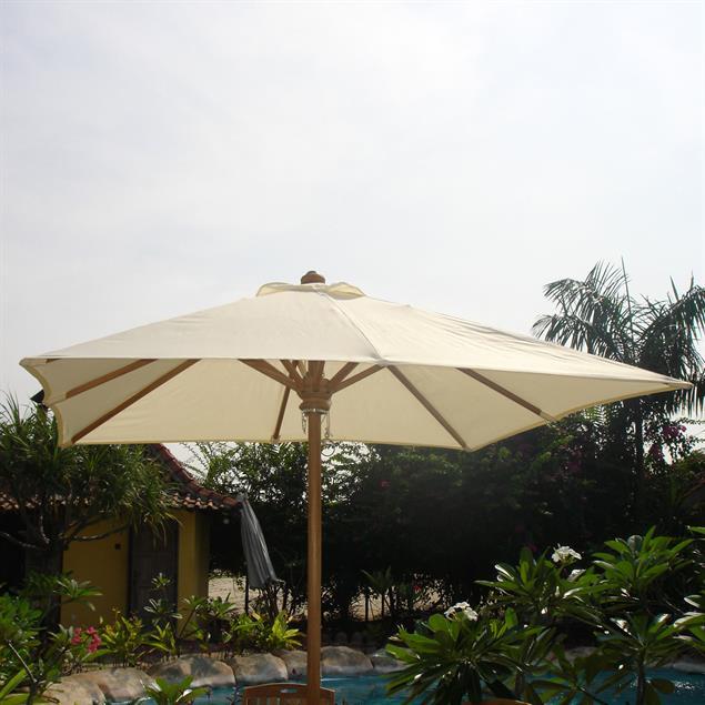 Sonnenschirm rechteckig 350 x 250cm Nagata Standardfarbe Teak mit Messingbeschlägen
