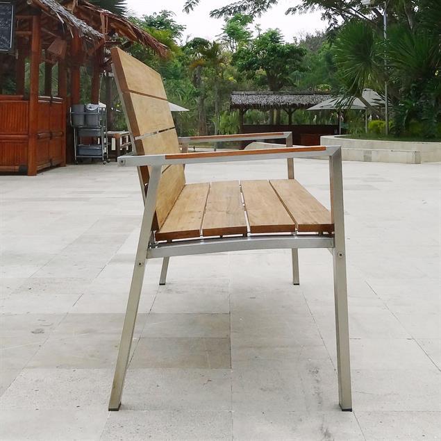 Zilart Gartenbank mit Rücken- + Armlehne 140 Vintage Teak mit Edelstahlgestell 142x63,5x91,4 cm